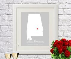Alabama State Art Gift Map Art Wedding by ArtPrints4All on Etsy