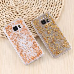 KISSCASE Luxury Glitter Gold Foil Silicon Case For Samsung A3 A5 J3 J5 J7 2017 For Samsung Galaxy S7 Edge S7 Cover Transparent