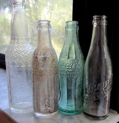 4 Antique Soda Bottles from the 1920s Barqs Dr Pepper Coca Cola Celo. $1.00, via Etsy.