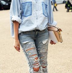 denim, distressed, ripped jeans