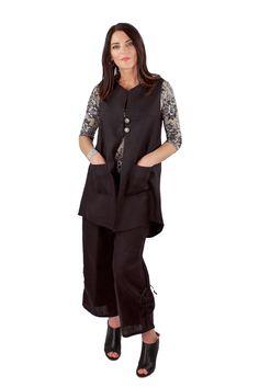 Lousje & Bean Button Vest & Emmy Pants in Black Linen Spring/Summer 2017 Collection #lousjeandbean #linenpants #linenvest #buttonvest #spring2017