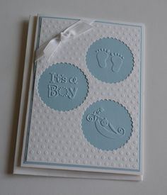 Circle cutout baby boy card by CardsforMORE on Etsy, $5.00