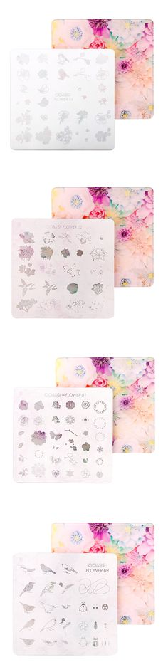 CICI&SISI Acrylic Layered Nail Art Stamping Plate Decorations Konad Stamping Manicure Template Stamp Flower and Bird 01-04