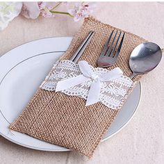 6pcs/lot New style Heart Hessian Lace Burlap Cutlery Holder Pouch Rustic Wedding Tableware Decoration