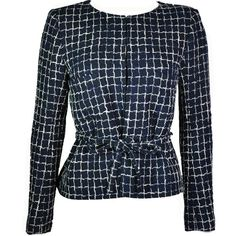 Preowned Chanel 2014 S/s Navy Cotton Tweed Jacket Fr38 (197280 DZD) ❤ liked on Polyvore featuring outerwear, jackets, chanel, blusas, blazer, blue, chanel jacket, navy tweed blazer, navy tweed jacket and summer jackets