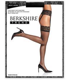 64a8c6a88c3 Berkshire Sexy Hose Lace Waist Garter Stockings Hosiery -  Women s Lace Waist Hose