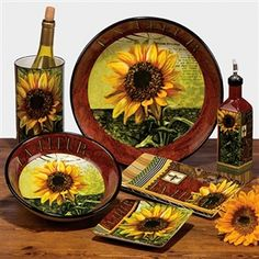 sunflowers dishes table top ware french decor