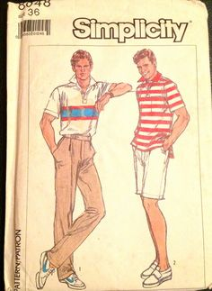Simplicity  8048 1980s Mens Golf Polo Shirt and Pants Shorts vintage sewing pattern by mbchills