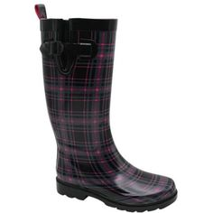 Capelli New York Black & Pink Plaid Buckle Rain Boot ($25) ❤ liked on Polyvore featuring shoes, boots, mid-calf boots, black boots, pink boots, tall rain boots, black waterproof boots and lined rain boots