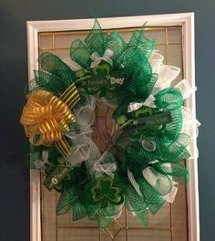 St Patrick's Day Deco Mesh Wreath by OhEmGeeWreaths on Etsy, $55.00