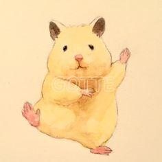 이미지 Cute Animal Drawings, Cute Animal Pictures, Cute Drawings, Art And Illustration, Anime Animals, Cute Animals, Japanese Hamster, Cute Hamsters, Rabbit Art