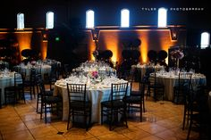 Reception in the ballroom at the Palm Event Center in the Vineyard (photo by Tyler Vu Photography).