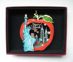 New York City Brass Ornament Big Apple Statue of Liberty Leatherette Gift Box