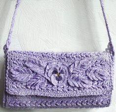 Lavender Crochet Tote Purse Woven Handbag Women Lady Eco Friendly Recycle yarn Evening Ladies Womens  Elegant female handbag. $39.90, via Etsy.