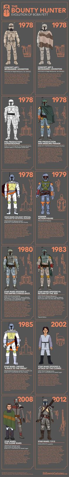The iconic villain of the original Star Wars trilogy, Boba Fett is as close to a household name as Darth Vader. See how the best bounty hunter in the galaxy achieved his unique look with this Evolution of Boba Fett infographic. Stormtrooper, Darth Vader, Starwars, Tableau Star Wars, Cuadros Star Wars, Character Design Challenge, Arte Nerd, Star Wars Boba Fett, The Force Is Strong