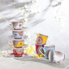 Orientalische Ornamente auf feinster italienischer Keramik hübschen jede Kaffeetafel auf. #oriental #coffee #tassen