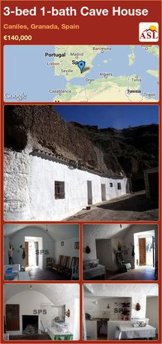 Cave House for Sale in Caniles, Granada, Spain with 3 bedrooms, 1 bathroom - A Spanish Life Granada Spain, Lean To, Green Valley, Seville, Lisbon, Cave, Madrid, Patio, Rustic