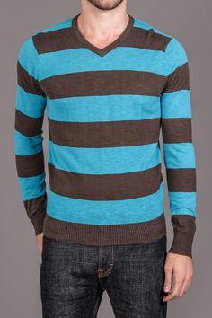 Jordan Craig Striped V-Neck Sweater