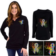 Autism Awareness Ribbon Lightweight Hooded Tunic at The Autism Site