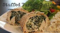 Looking for new recipes for the 21 Day Fix? Try these delish Stuffed Turkey Cutlets! Looking for new recipes for the 21 Day Fix? Try these delish Stuffed Turkey Cutlets! Turkey Cutlet Recipes, Cutlets Recipes, Turkey Recipes, Clean Recipes, Cooking Recipes, Healthy Recipes, Healthy Meals, Gout Recipes, Free Recipes