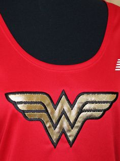 Wonder Woman New Balance racerback tech tank OR short sleeve tee wicking women running runners singlet costume cosplay halloween by suestevepat on Etsy https://www.etsy.com/listing/180902564/wonder-woman-new-balance-racerback-tech