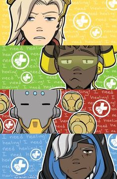 "Overwatch Supports lauraknatt: ""One of my prints for Phoenix Comicon! I can't believe it's been a year since Overwatch came out! A year since I found my love for playing Supports in this game. Overwatch Memes, Overwatch Fan Art, Chibi Overwatch, Overwatch Support, Overwatch Funny Comic, Overwatch Wallpapers, Overwatch Drawings, Only Play, Fantasy Art"