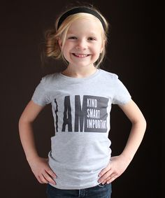 Look at this The Talking Shirt Heather Gray 'I AM' Tee - Girls on #zulily today!