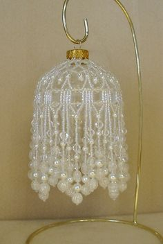 Beaded Fancy Fringed Ornament Cover - Beading Instructions - Snow Pearl by StudioJamie on Etsy https://www.etsy.com/listing/160981324/beaded-fancy-fringed-ornament-cover