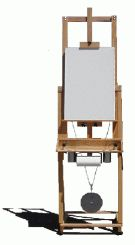 Artist easel in a raised position