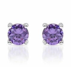Earrings With    Cubic Zirconia    Vibrant earrings with cubic zirconia made in 925 sterling silver. Total item weight 0.7g. Gemstone info: 2 cubic zirconia, 1.12ctw., round shape and purple color.