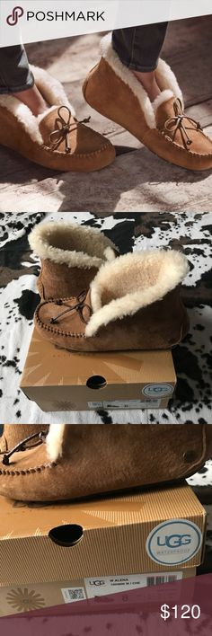Women's UGG-Pure Alena Suede Slipper Bootie Size 8 Worn a few times! Good USED CONDITION! BOX IS INCLUDED!😀 No rips or major signs of wear throughout the shoe.   *SIGNS OF WEAR ON (8th picture) under the top of the slippers* Not really noticeable when wearing the shoe*  No Lowballs or trades🚫 Look at my closet to bundle and save!💞 SHIPS SAME DAY! 🔥 UGG Shoes