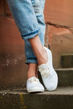 Kate Spade glitter Keds (maid of honor) Kate Spade Glitter Keds, Kate Spade Keds, Glitter Shoes, White Keds, Preppy Winter, Keds Champion, Spring Sandals, Female Feet, Cosplay