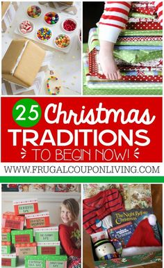 25 Christmas Traditions to start right now. Ideas on Frugal Coupon Living as well has homemade advent calendars and Elf on the Shelf Ideas.