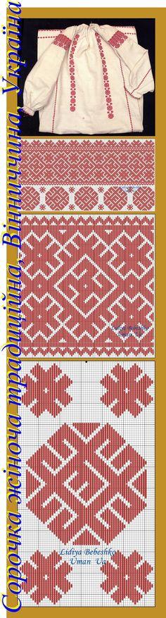 Нарукавна вишивка жіночої додільної сорочки з Вінниччини, Східне Поділля, Україна.