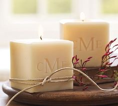"Eco-Luxury Monogrammed Candle: Soy Blend Cube Candle: Measures 3"" x 3"" x 3"".  Hand poured in VT (unscented) perfect for every occasion & decor.  Candle tunnel burns allowing the carving to illuminate - absolutely gorgeous and timeless!  Carved to your desire with an initial, monogram, name, graphic, or even a logo!"