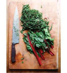Thought this shot of chard could feasibly be pinned elsewhere, I love photos of well-used knives and cutting boards.