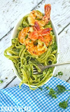 Twirl up a forkful of Chimichurri Pasta and Grilled Spicy Shrimp.  Simple ingredients make this meal a delight!