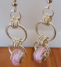 Think Pink Chain Maille Earrings by WoollyMammothStudios on Etsy