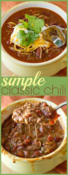 Simple Classic Chili - A no-frills recipes for your good ole fashioned chili. Made with lean beef, two different kinds of beans, and a whole lot of heartiness, this classic chili is perfect on it's own or mixed into cheese for a yummy queso dip. Chili Recipes, Soup Recipes, Dinner Recipes, Cooking Recipes, Cooking Chili, Chili Food, Chili Chili, Cooking Kale, Sweets Recipes