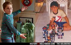 He-Man Castle Grayskull on The Goldbergs pictured next to Adam Goldberg in the 1980s with his Godaikins toys.