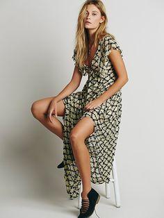 61% off Free People - Cotton Silk Babydoll Dress Golden Light Print - $149.95