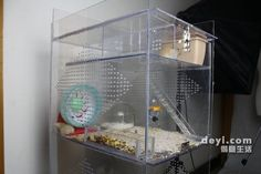 DIY hamster cage, good design (with LED strip)! I could do with this cage, as my hamster is trying to eat her way out of her own. Dwarf Hamster Cages, Cool Hamster Cages, Gerbil Cages, Hamster House, Dwarf Hamsters, Hamster Stuff, Pet Stuff, Gerbil Toys, Pet Toys