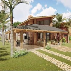 Village House Design, Bungalow House Design, Village Houses, Small House Design, House Construction Plan, A Frame House, Forest House, Dream House Exterior, Story House