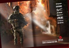 Airsoft is a military simulation sporting game similar to Paintball, players typically emulate the tactical equipment and accessories used by the modern military. This double page spread ran in various Airsoft magazines throughout the UK and features 'Airsoft Bob' wearing some of the kit available from Edgar Brothers Airsoft Division. This striking image and use of space gave this advert a real wow factor.