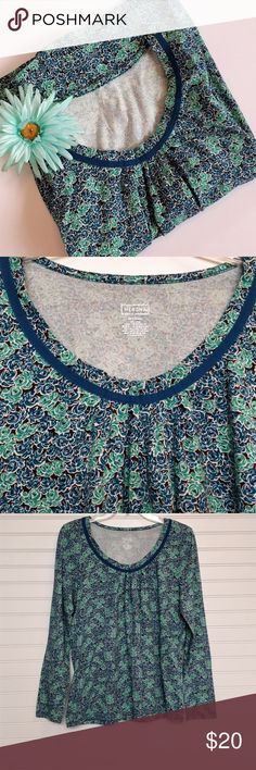 Merona cozy cotton floral top size large Like new condition.  Soft, medium-weight cotton knit.  Gathered just below neckline.  Blue and green flowers on a dark brown background.  Thank you so much for visiting my closet!  Happy poshing!!! :) Merona Tops Tees - Long Sleeve