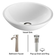 "Vigo VGT209 16-1/2"" White Phoenix Glass Vessel Bathroom Sink Set with Otis Singl Brushed Nickel Fixture Lavatory Sink Combination"