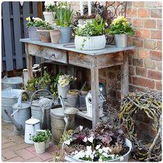 HaPpy SunDaY.....☀☀☀ macht was Schönes..........❤ . . #meinpflanztisch #hofundgarten #frühling #derfrühlingistda  #country_stilllife #flowersmakemyday #decooclock #gdi_mitmachprojekt @gemeinsamdurchinsta #zinkkanne#pflanztisch#zink #garden_styles#antjeshof💙 Outdoor Garden Decor, Porch Garden, Diy Garden Decor, Garden Junk, Outdoor Gardens, Garden Crafts, French Cottage Garden, Shabby Chic Garden, Potting Bench Plans
