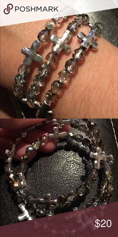 Cross wrap bracelet Silver tone crosses with with sliver-ish oil tone beads.. I love making jewelry and would love to decorate your wrist! Jewelry Bracelets