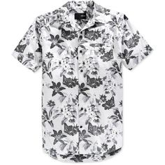 Hurley Men's Meadowlark Floral-Print Short-Sleeve Shirt ($39) ❤ liked on Polyvore featuring men's fashion, men's clothing, men's shirts, men's casual shirts, white, mens short sleeve shirts, hurley mens shirts, mens white shirts, men's short sleeve button up shirts and mens casual button up shirts