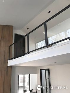 Stairway Railing Ideas, Loft Railing, Balcony Railing Design, Door Canopy Modern, Glass Stair Balustrade, Staircase Interior Design, Beige Living Rooms, Glass Stairs, Family House Plans